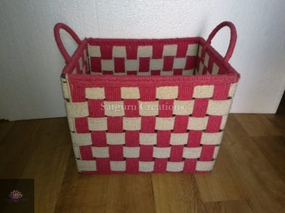 Red Attractive Spacious Bamboo Basket