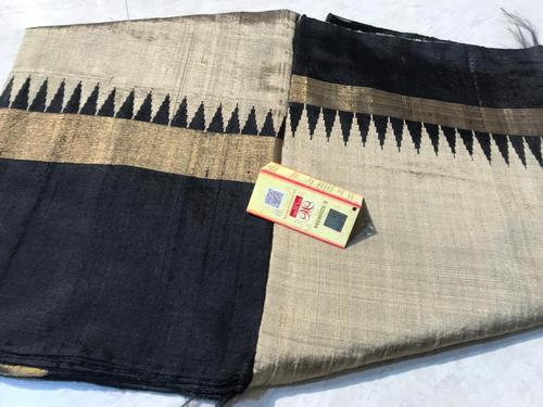 Pure Dupion Raw Silk Handloom Double Sided Temple Border Sarees