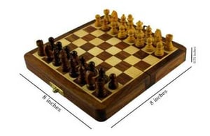 Brown Wooden Magnetic Chess Board
