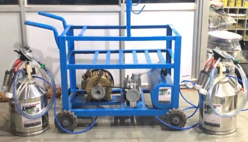 Double Bucket Milking Machine With Trolley With Silicon Liners
