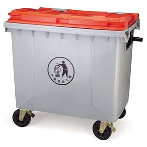 1100 Litre Plastic Trash Can Dustbin Garbage Bin with Lid Cover