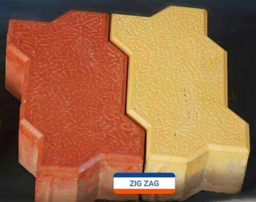 Zig Zag Paver Block - Orange And Yellow