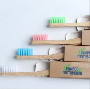 4 Pack Organic Bamboo Toothbrush for Home, Hotel, Travel