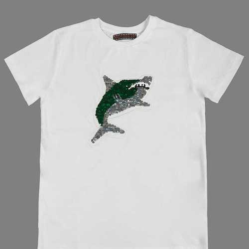 Shark Reverse Sequin Printed T Shirt Age Group: Adult