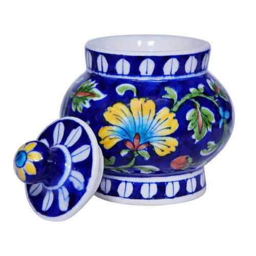 Multicolor Blue Pottery Sugar Jar