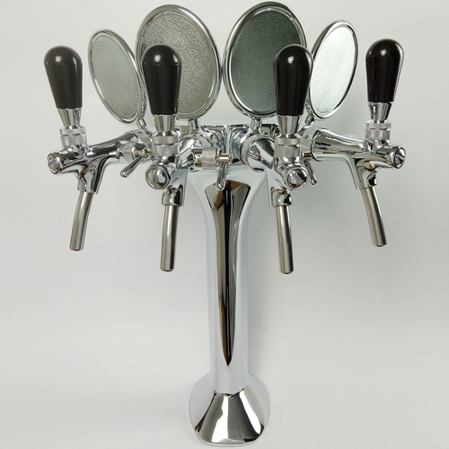 4 Way Chrome Plated Brass Cobra Beer Tower for Bar Equipment