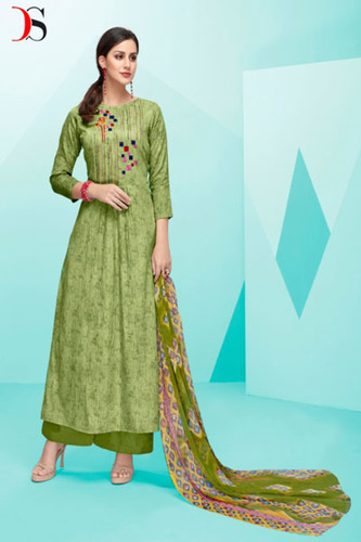 Pure Cotton Satin Print With Self Embroidery Suits