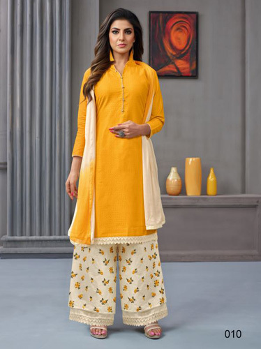 Angroop Plus Alanna Pure Cotton And Masline Palazzo Suit