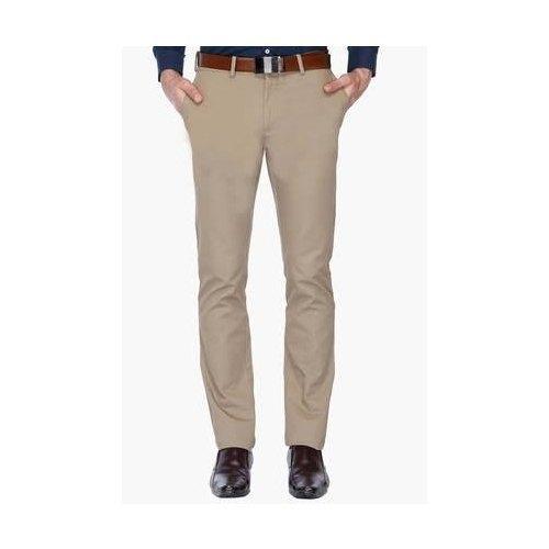 Cotton Mens Beige Color Pant