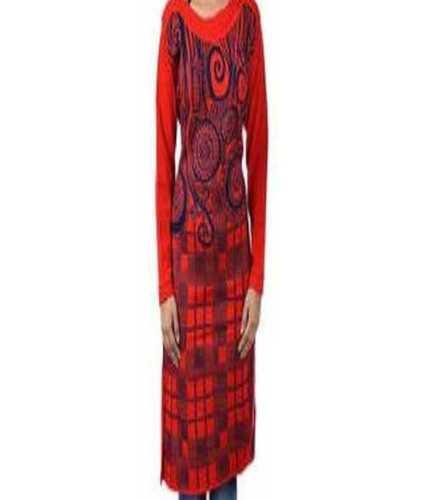 Red Long Sleeve Woolen Kurti