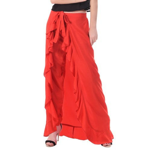 Red Color Plain Ruffle Palazzo
