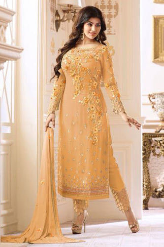 Glossy Heenaz Georgette With Heavy Embroidery Suit