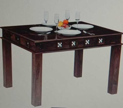 Brown Sturdy Design Wooden Dining Table