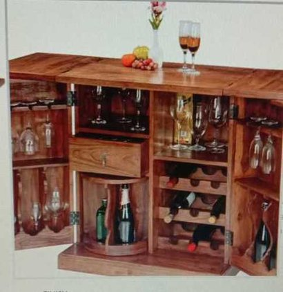 Trio Wooden Bar Cabinet No Assembly Required
