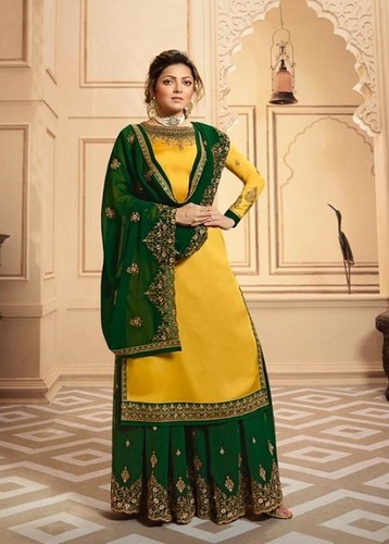 LT Fabrics Nitya 142 Georgette Satin With Embroidery And Work Sharara Suit