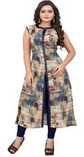 All Colors Available Alluring Patterns Sleeveless Cotton Kurti