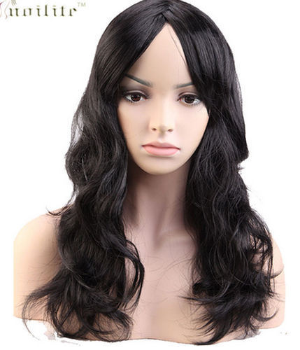 "Black 19"" Curly Party Fancy Dress Shiny Wigs"