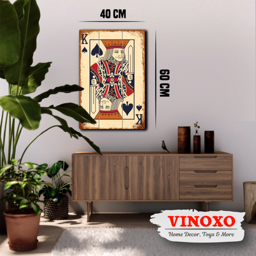 Vinoxo Large Size Wall Hanging Plate - Poker King Material: Wood