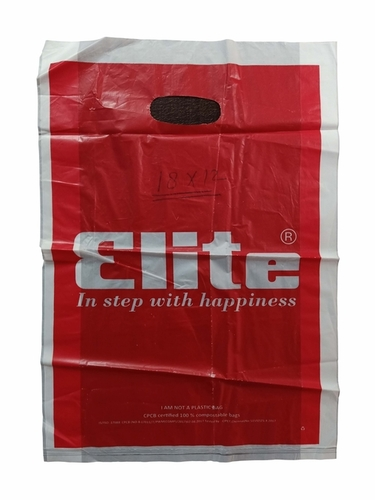 Red Compostable Printed Carry Bag (D-Cut)