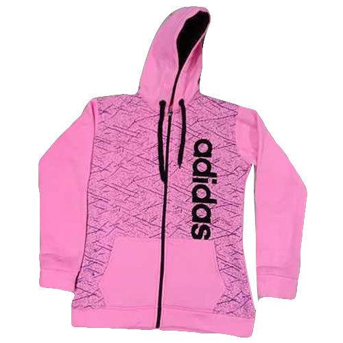 Wool Women'S Pink Hooded Zipper Sweatshirt