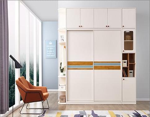 Wooden White Sliding Wardrobe Design: Board