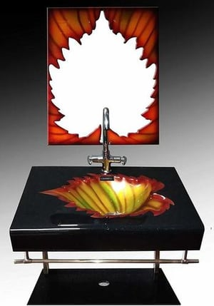 Leaf Lip Counter Full Set with Mirror, Shelf, Steel Stand