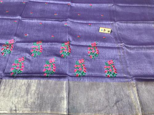 Linen Silk All Over Machine Emb Sarees, Running Plain Blouse