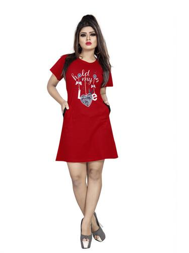 Women Red Printed T-Shirt
