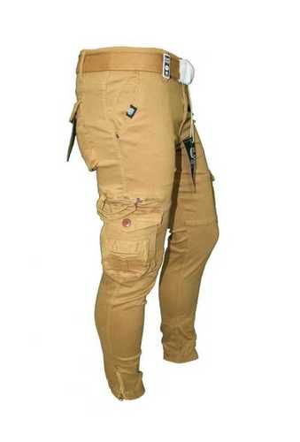 Dark Yellow Pure Cotton Cargo Pants