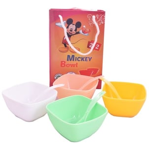 Soup Bowls with Two Plastic Spoons Set (Green) (Pink) (White) (Yellow)