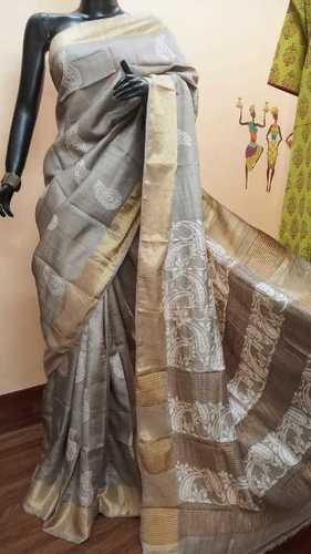 Zari Border Tussar Sarees With Blouse
