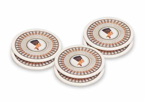 Asian Round Office and Home Tea or Coffee Coasters and Mats Set of 6 Pcs