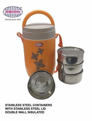 ASIAN Stainless Steel Smart 4 Tiffin Box/Lunch Box/Tiffin Carrier/Office Lunch Box (Orange)