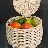 Malesian Cane Fruit Basket With Lid