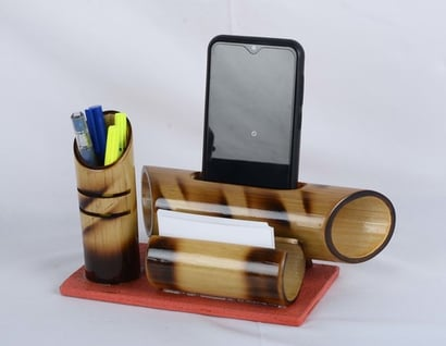 Wood Mobile Stand With Pen And Card Holder