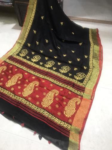 Pure Linen By Linen Hand Chikenkari Saree