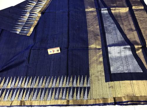 Pure Dupion Raw Silk Handloom Saree With Real Gold & Silver Metal Jari Woven Border, Pallu, Running Blouse