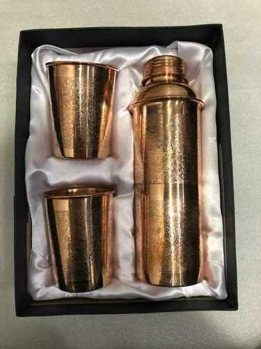 Brown Corporate Gift Embossed Copper Water Bottle Set
