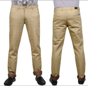 Men Checked Linen Formal Trousers