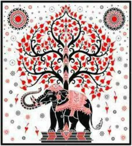 White Tree Elephant Tapestry Wall Hanging