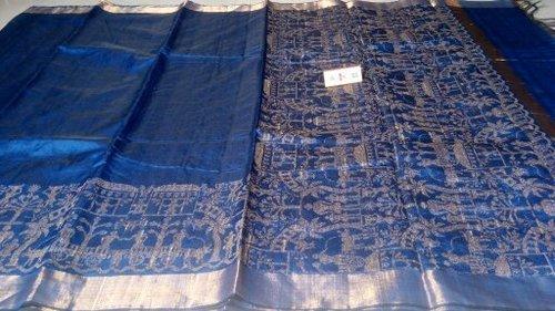 Pure Dupion Raw Silk Handloom Worli Weaved Hand Border Sarees