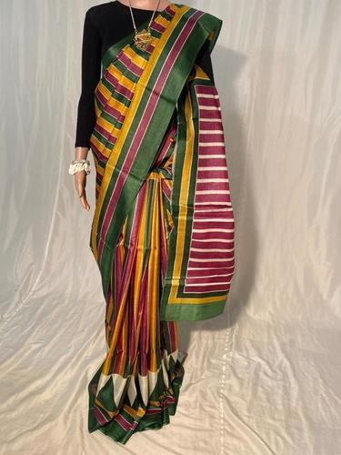 Pure Tussar Silk Hand Block Printed Saree