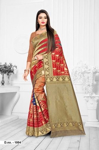 Ami Varsha Fashion Women Top Dyed Saree With Blouse Pieces