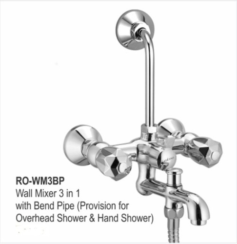 WALL MIXER 3 IN 1 WITH BEND PIPE (PROVISION FOR OVERHEAD SHOWER &HAND SHOWER)