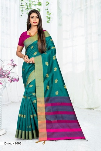 (Ami Varsha) Fashion Women Georgette Golden Printed Saree with Blouse Piece