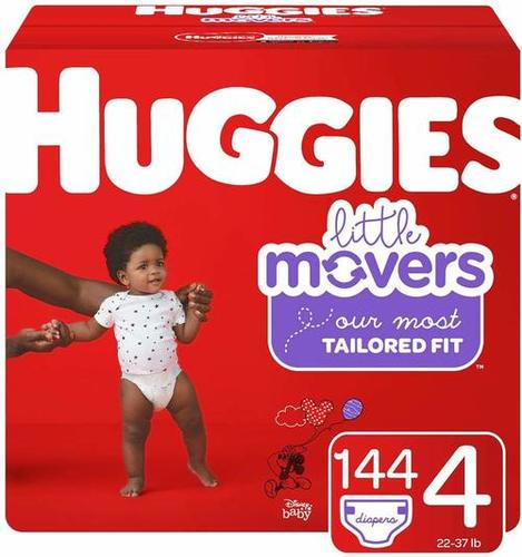 Huggies Little Movers Diapers, Size 4 (22-37 lb.), 144 Ct