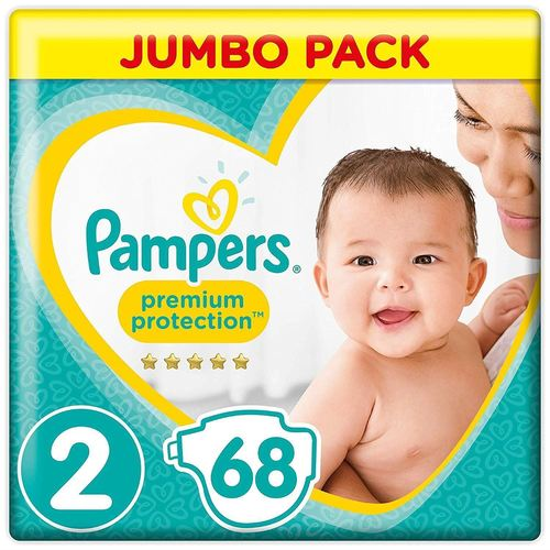 New Baby Diapers With Wetness Indicator Jumbo Pack Of 68 (Pampers)