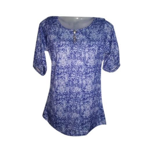 Cotton Casual Ladies Round Neck Printed Top