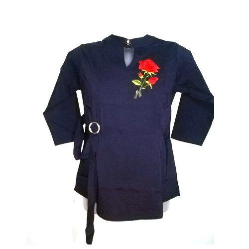 Ladies Cotton 3/4th Sleeve Navy Blue Top