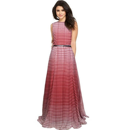 Ladies Marron Georgette Striped Long Gown